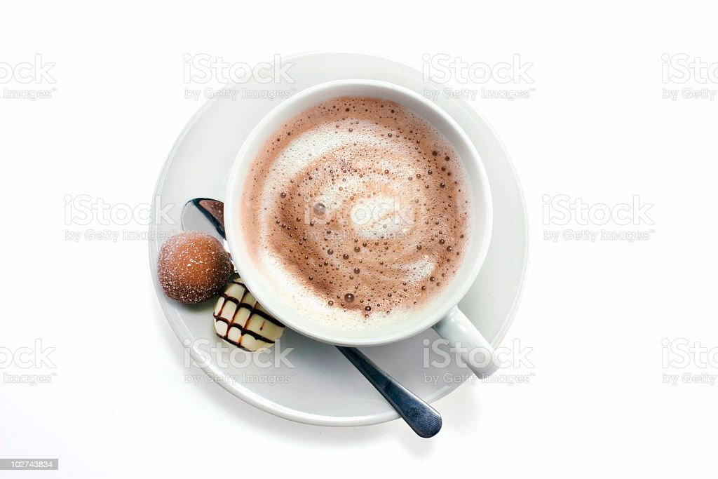 Hot chocolate and chocolate truffles stock photo