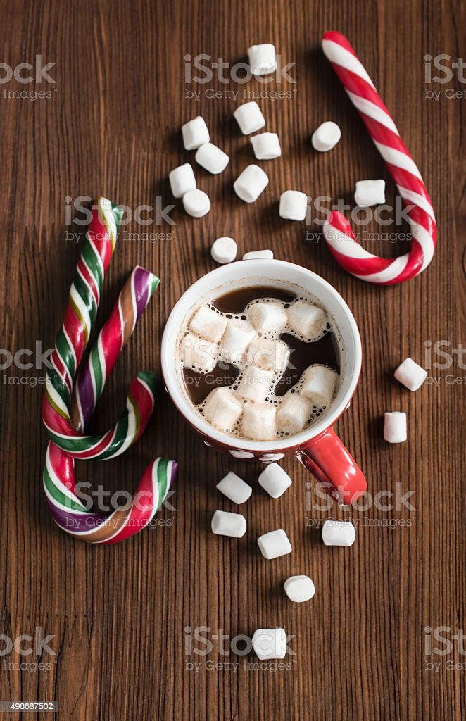 Hot chocolate and christmas candy stock photo