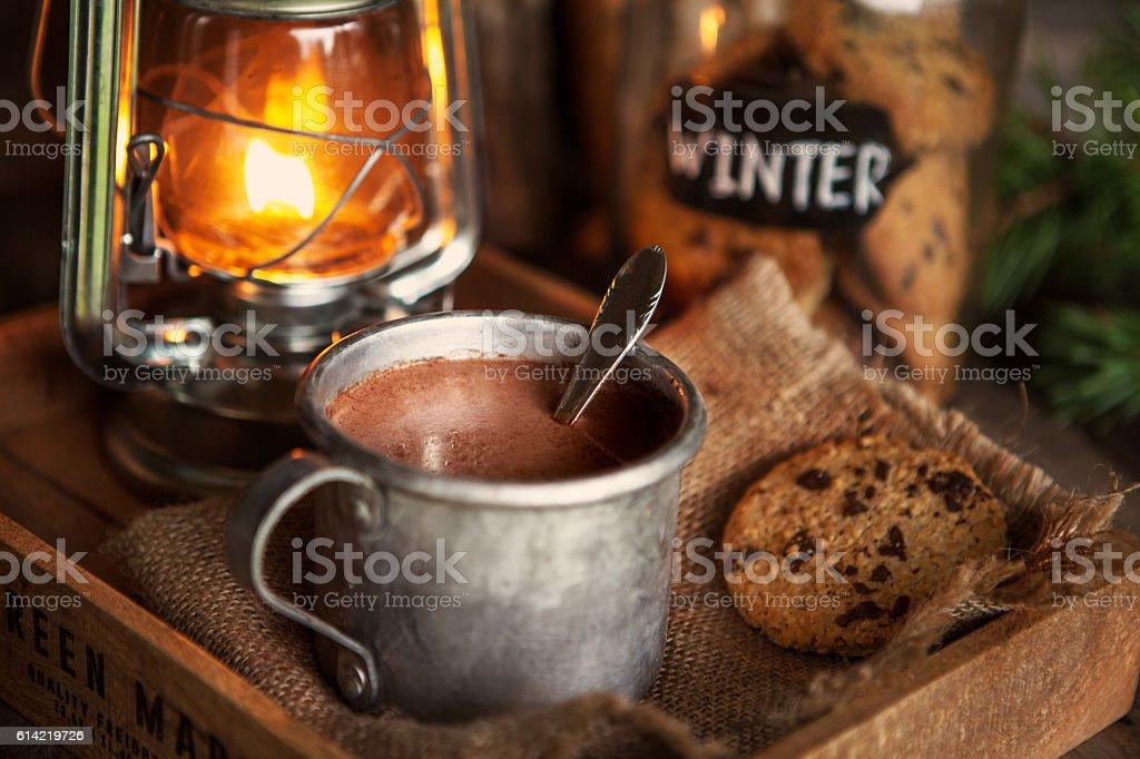 Hot chocolate and Christmas stock photo