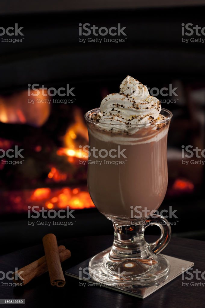 Hot Chocolate by the Fire stock photo
