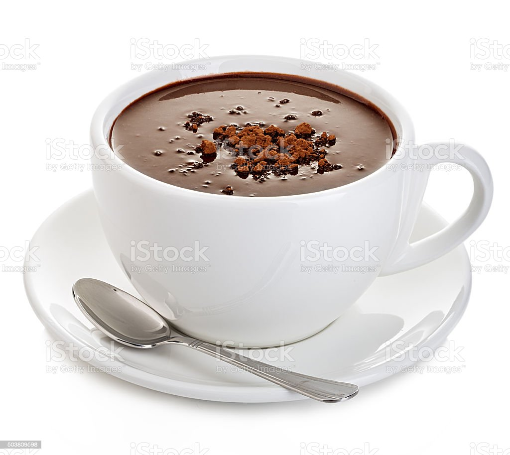 Hot chocolate close-up isolated on a white background. stock photo