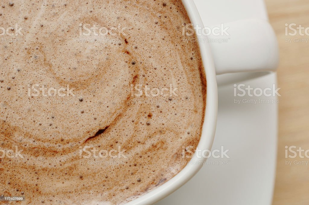 Hot chocolate from above close up royalty-free stock photo