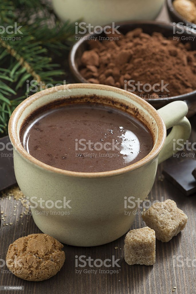 hot chocolate in a ceramic cup and amaretti cookies stock photo