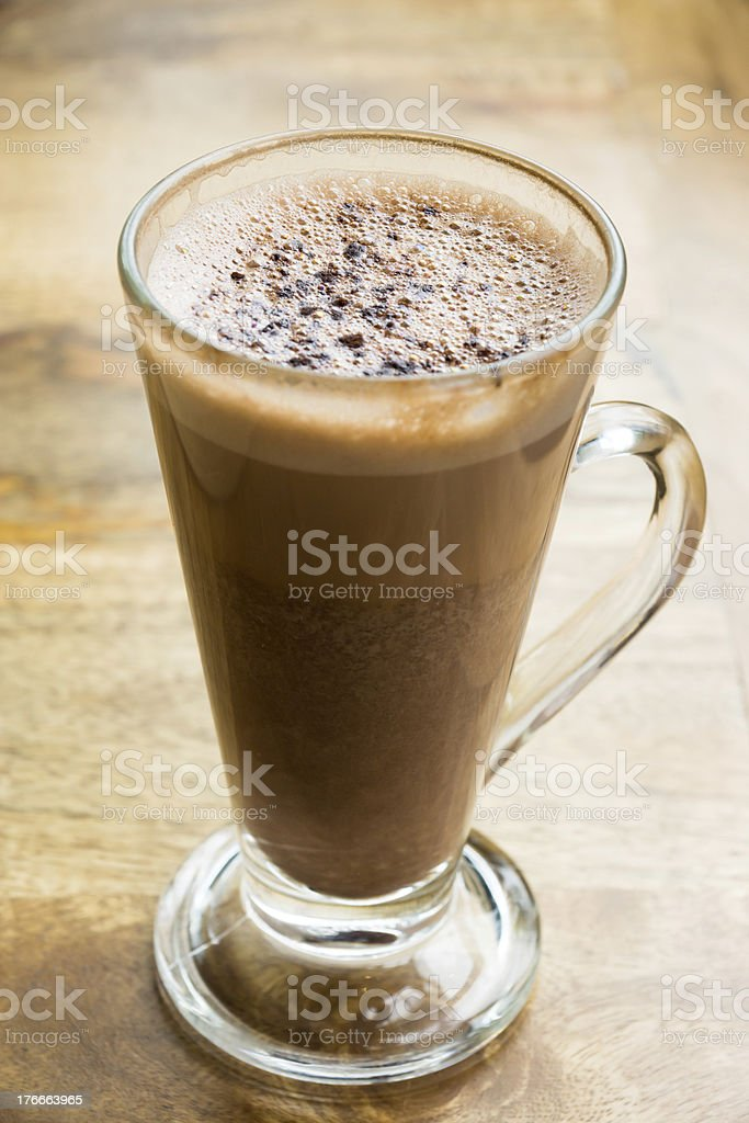 Hot chocolate in a tall glass royalty-free stock photo