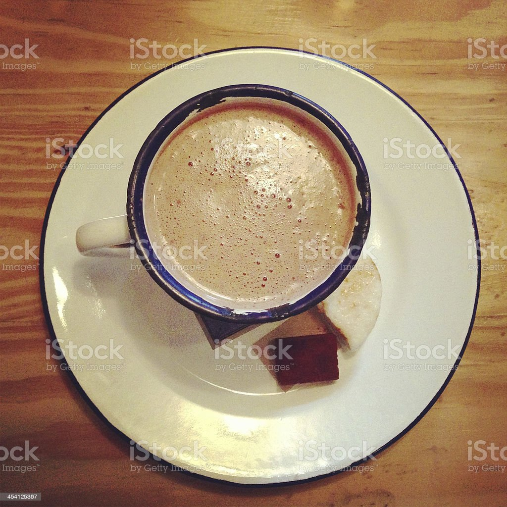 hot chocolate in dish wood royalty-free stock photo