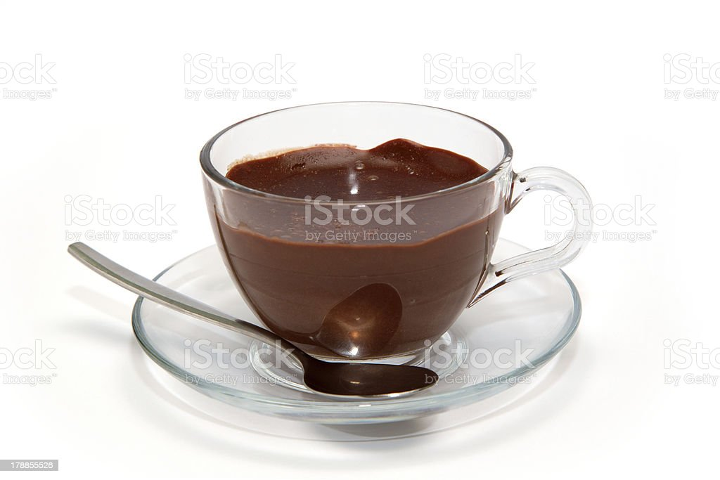 Hot chocolate in glass cup stock photo