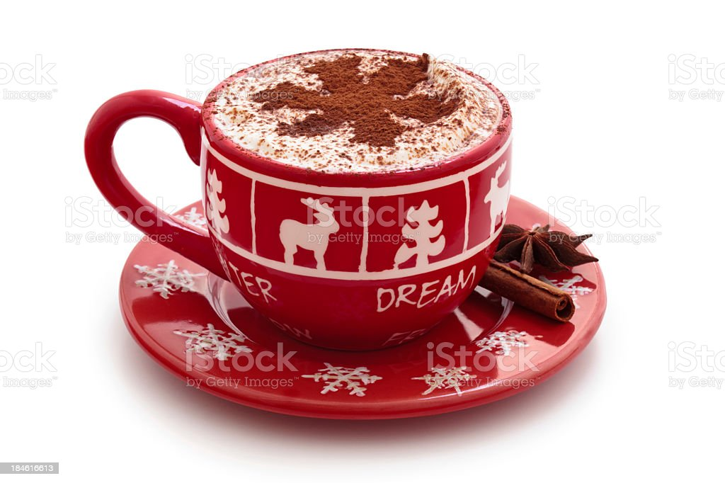 Hot chocolate in red seasonal mug with cocoa snowflake stock photo