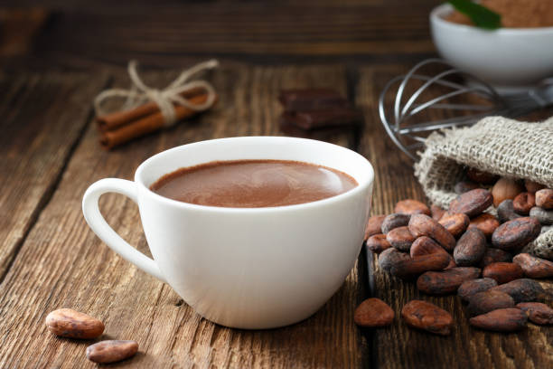hot chocolate in the cup - hot chocolate stock photos and pictures