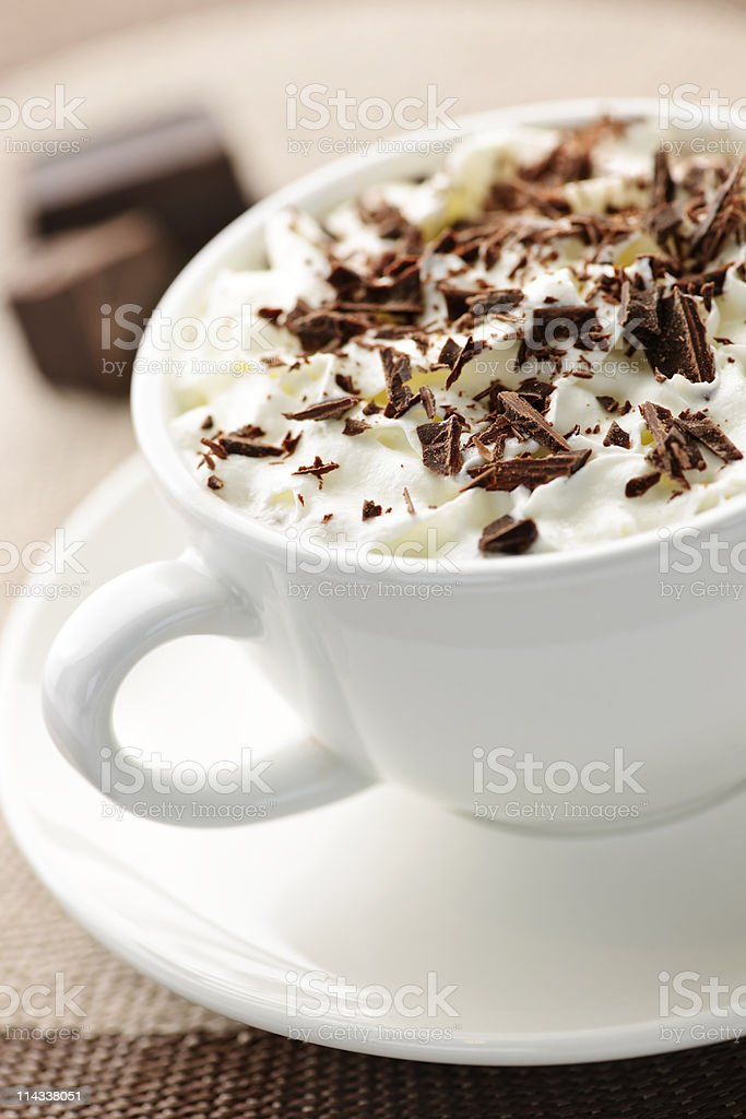 Hot chocolate in white mug on table royalty-free stock photo