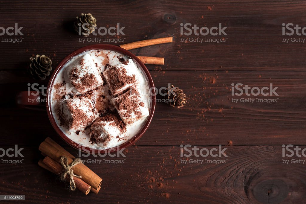 Hot chocolate, marshmallows, cinnamon sticks and fir cones, flat lay stock photo