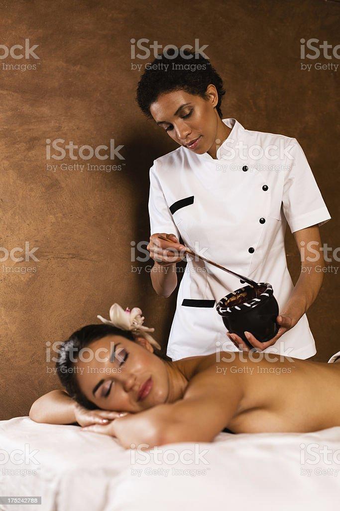 Hot chocolate massage royalty-free stock photo