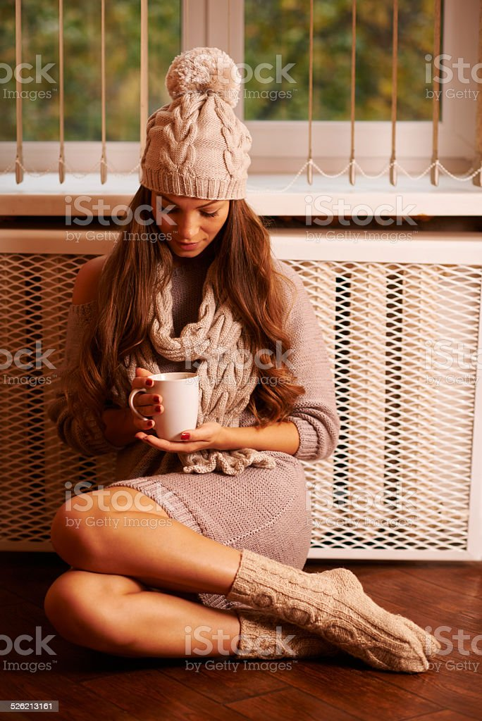 Hot chocolate on a cold winter day stock photo
