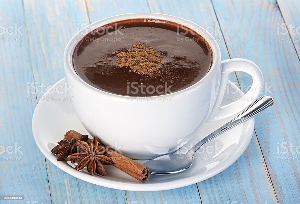 Hot chocolate on wooden table stock photo