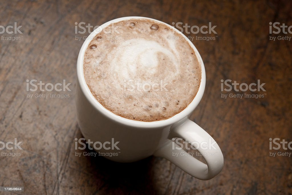 hot chocolate or a Mocha from above royalty-free stock photo