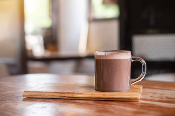 Hot chocolate or cocoa on wooden table , background chocolate , drink hot chocolate stock pictures, royalty-free photos & images