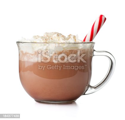 Hot chocolate with peppermint stick.  Please see my portfolio for other holiday and food related images.