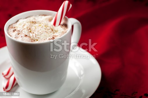 Hot Chocolate on red.  Please see my portfolio for other food and holiday related images.