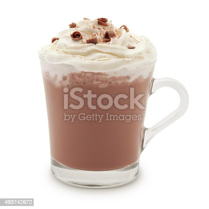 Hot chocolate mug topped with whipped cream, chocolate and cinnamon isolated on white (excluding the shadow)