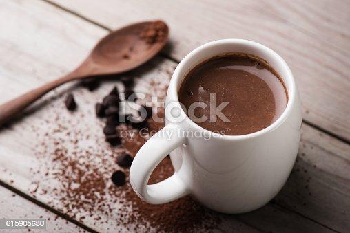 closeup hot chocolate in white mug (shallow depth of field)