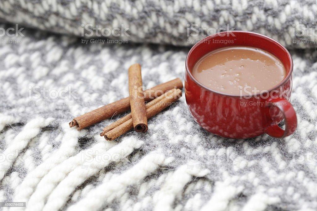 hot chocolate with cinnamon royalty-free stock photo