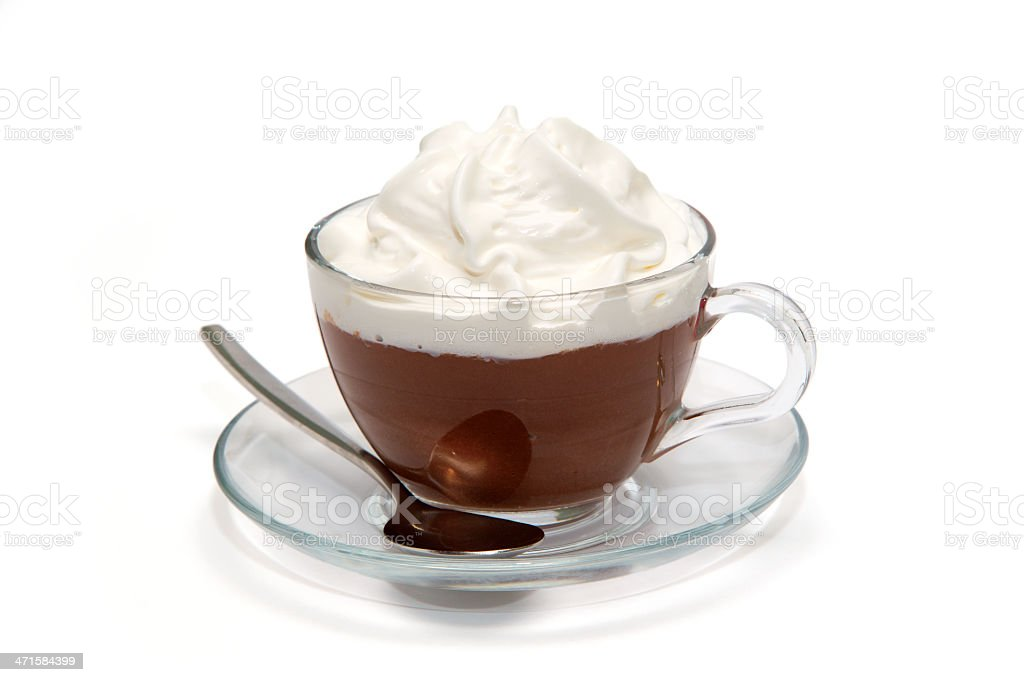 Hot chocolate with cream in glass cup stock photo