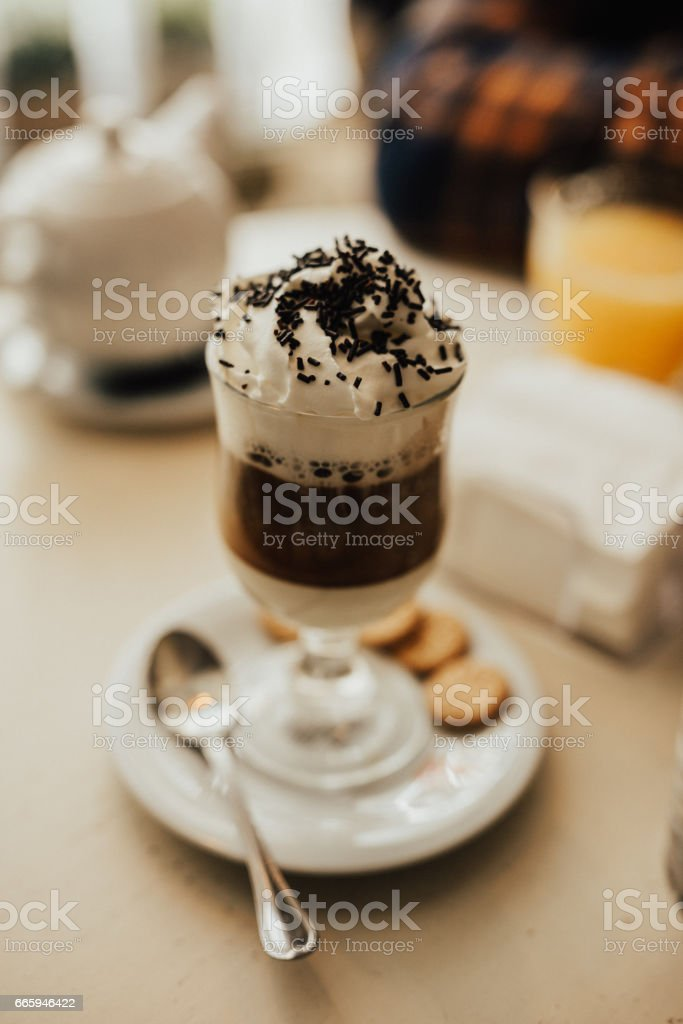 Hot chocolate with cream stock photo