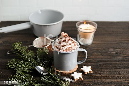 Hot Chocolate with Fir branch and Christmas cinnamon star Cookies