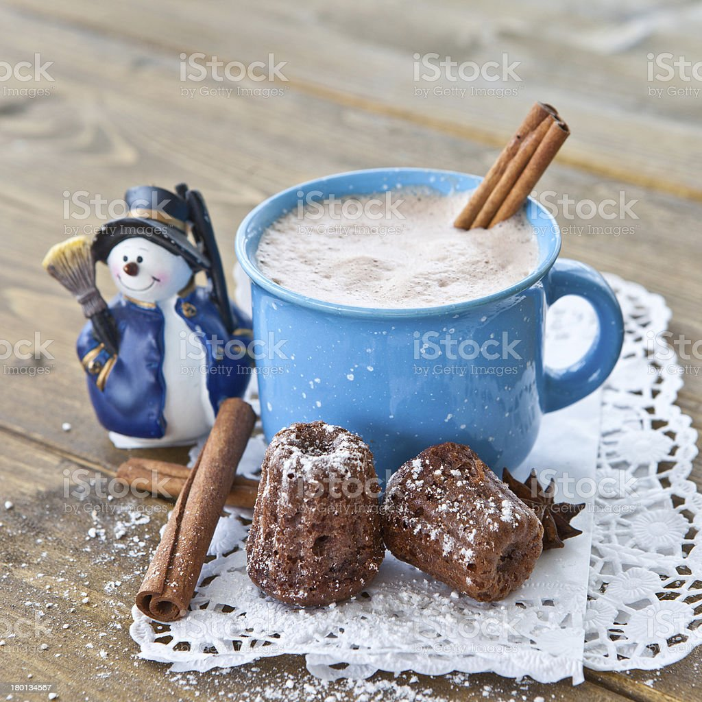 Hot chocolate with little cakes royalty-free stock photo
