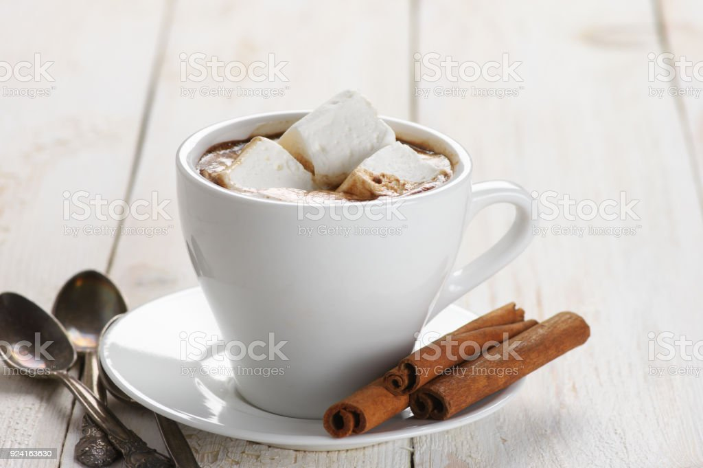 Hot chocolate with marshmallow and cinnamon stock photo