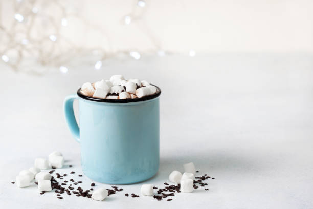 hot chocolate with marshmallow - hot chocolate stock photos and pictures
