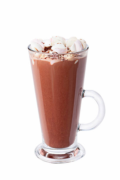 hot chocolate with marshmallows in transparent tall glass. - trinkschokolade am stiel stock-fotos und bilder