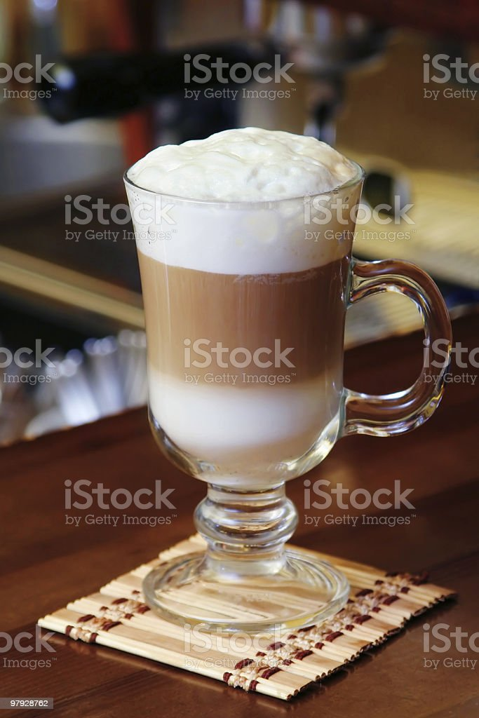 Hot chocolate with milk cream in cafe royalty-free stock photo