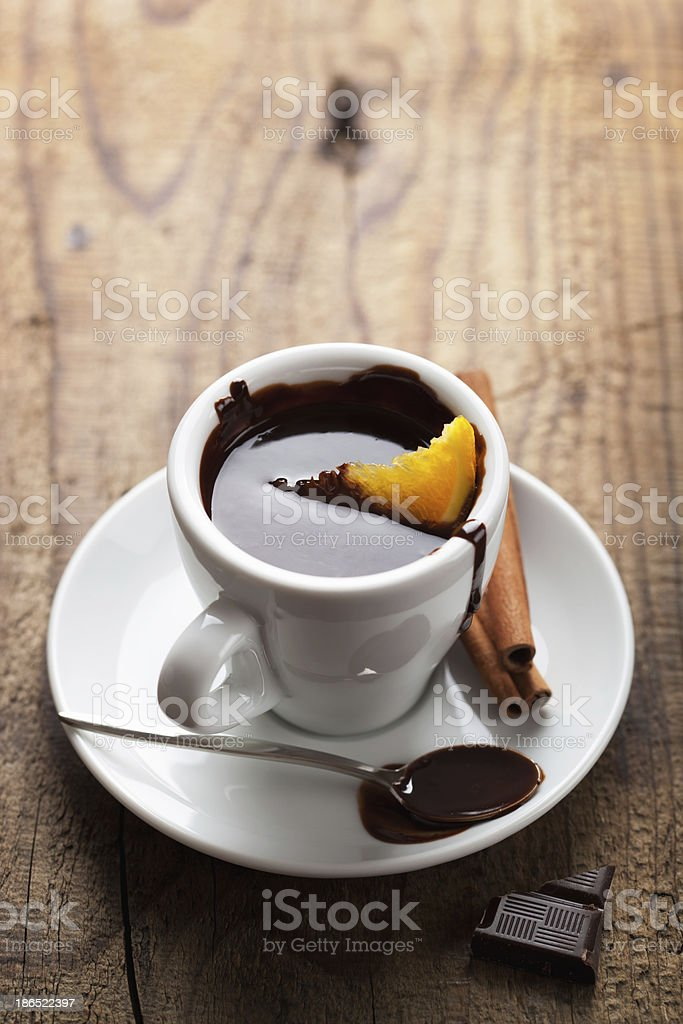 hot chocolate with orange and cinnamon royalty-free stock photo