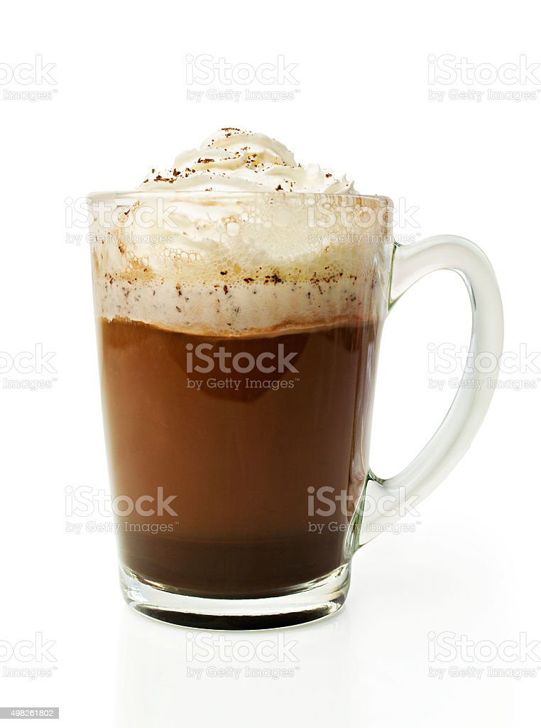Hot chocolate with whipped cream in a glass bowl stock photo
