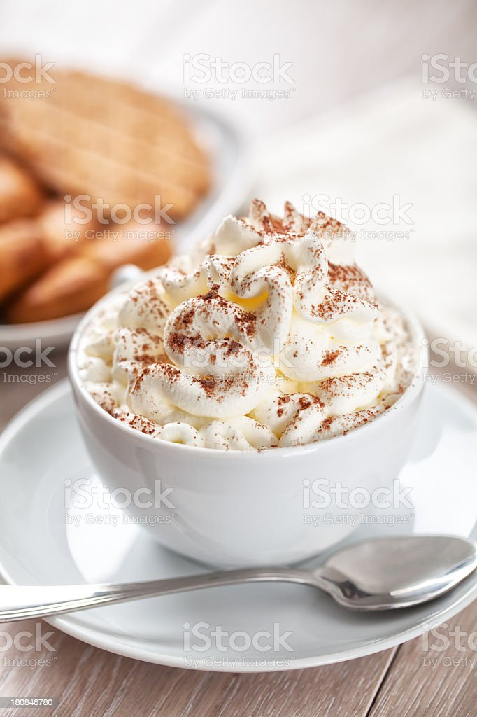 Hot chocolate with whipped cream royalty-free stock photo