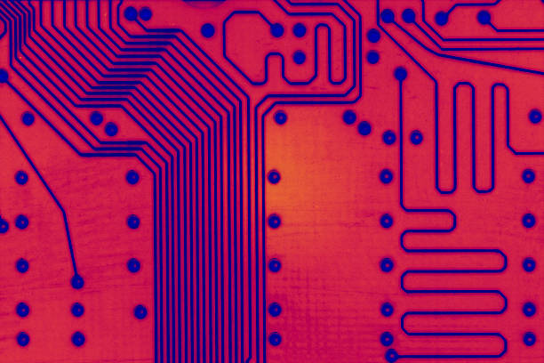 Hot Circuits Circuit board in Red Like Fire. stock photo