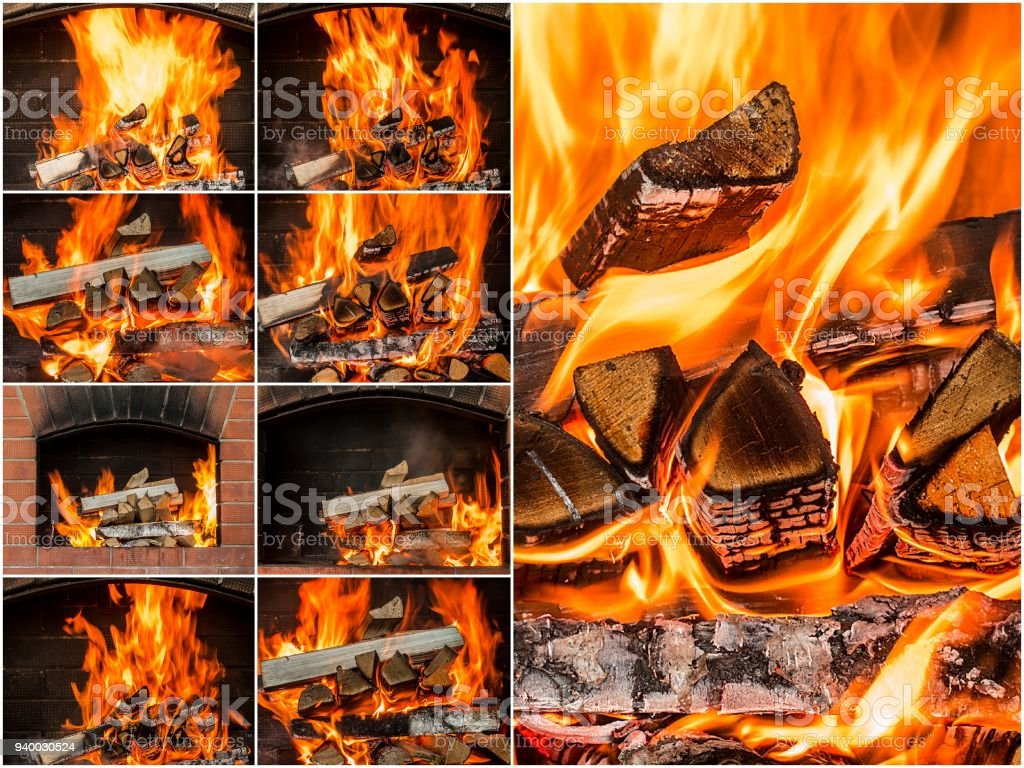 Hot coals in the fire collage. set of Flames stock photo