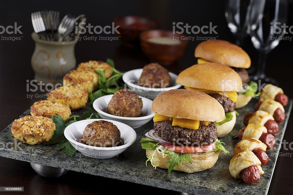 Hot cocktail appetizers stock photo istock for Canape buffet menus