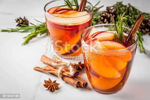 istock Hot cocktail with apple, rosemary, cinnamon 821640196