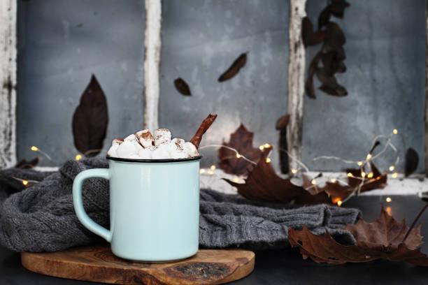 heißer kakao mit marshmallows und zimtrinde - fensterdeko herbst stock-fotos und bilder