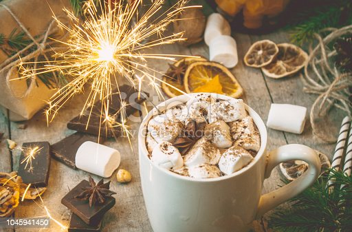 istock hot cocoa with marshmallows. Christmas background. Selective focus. 1045941450