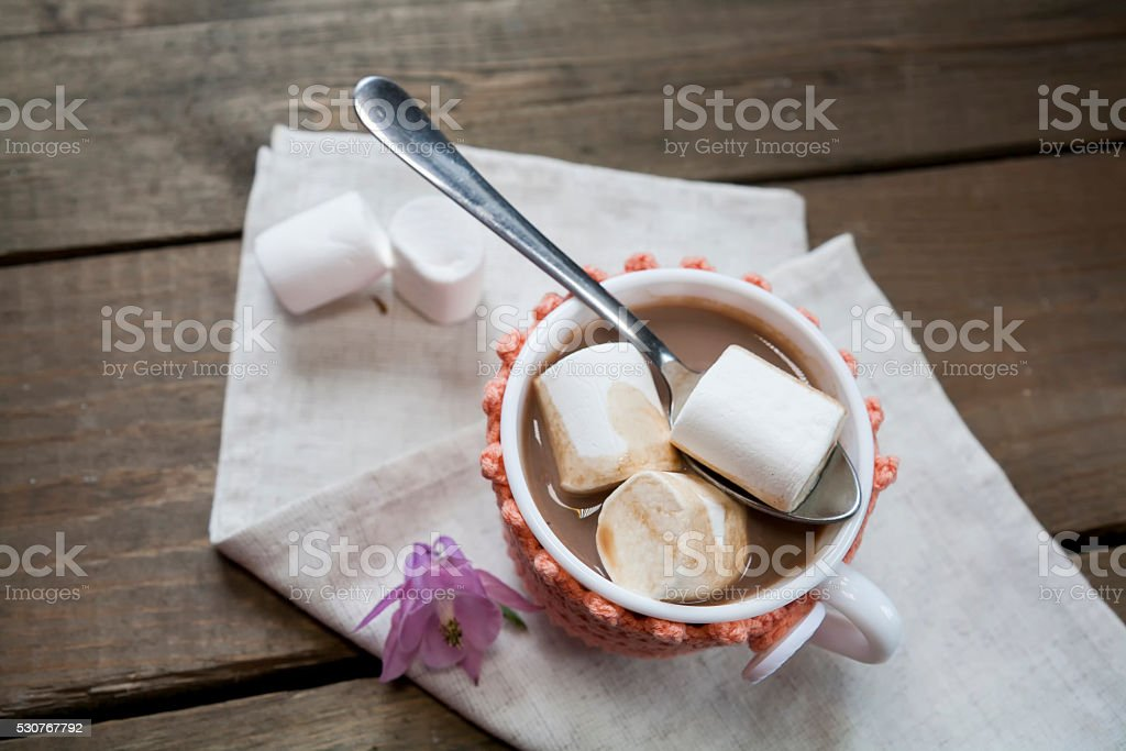 Hot cocoa with marshmallows in cup royalty-free stock photo