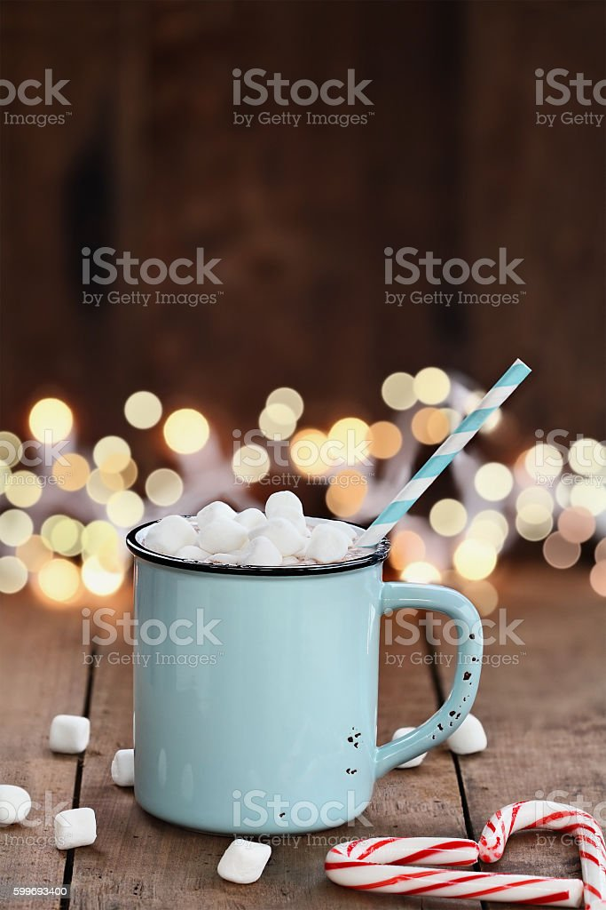 Hot Cocoa with Mini Marshmallows stock photo