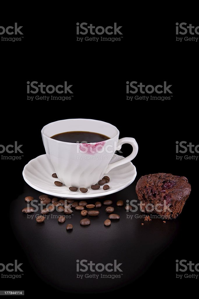 Hot coffee and muffin royalty-free stock photo