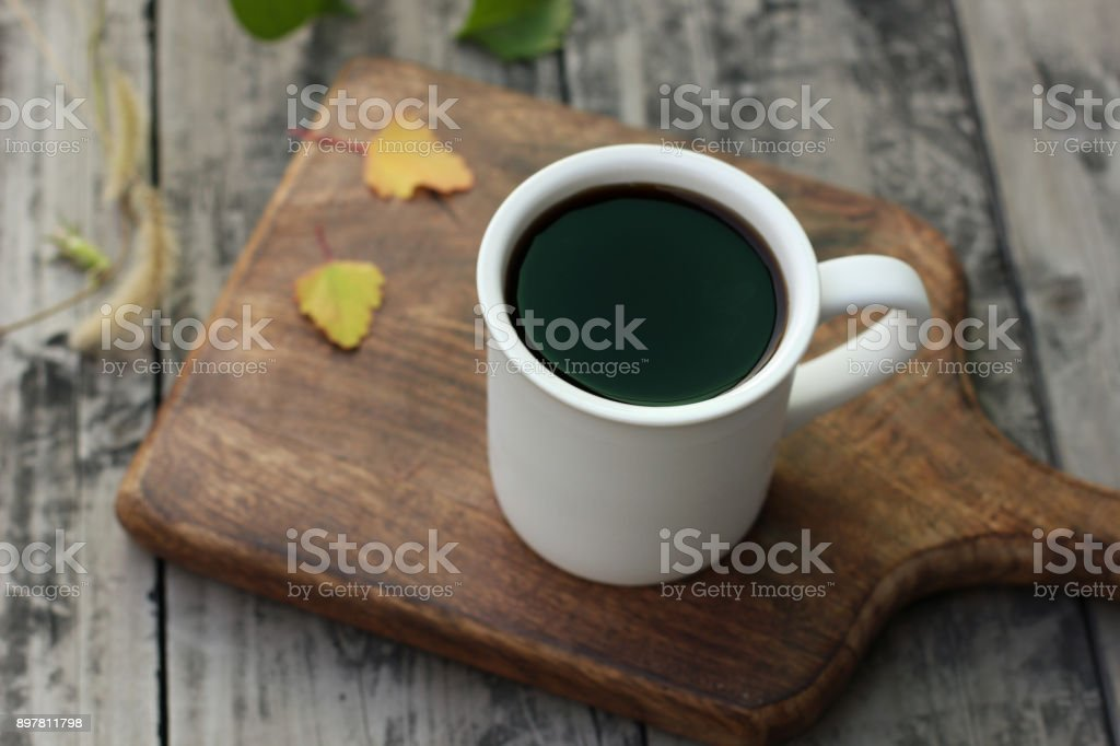 Hot coffee black coffee on wood table stock photo