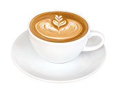 istock Hot coffee cappuccino latte art isolated on white background, clipping path included 947762906