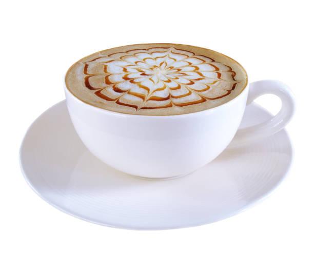 heißen kaffee karamell macchiato-cappuccino-tasse isoliert auf weißem hintergrund, schneidepfad enthalten. - www kaffee oder tee stock-fotos und bilder