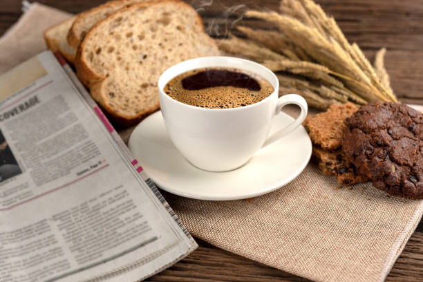 Hot coffee cup and breakfast stock photo