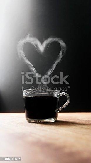 Valentine's Day Glass Coffee mug heart shape steam.