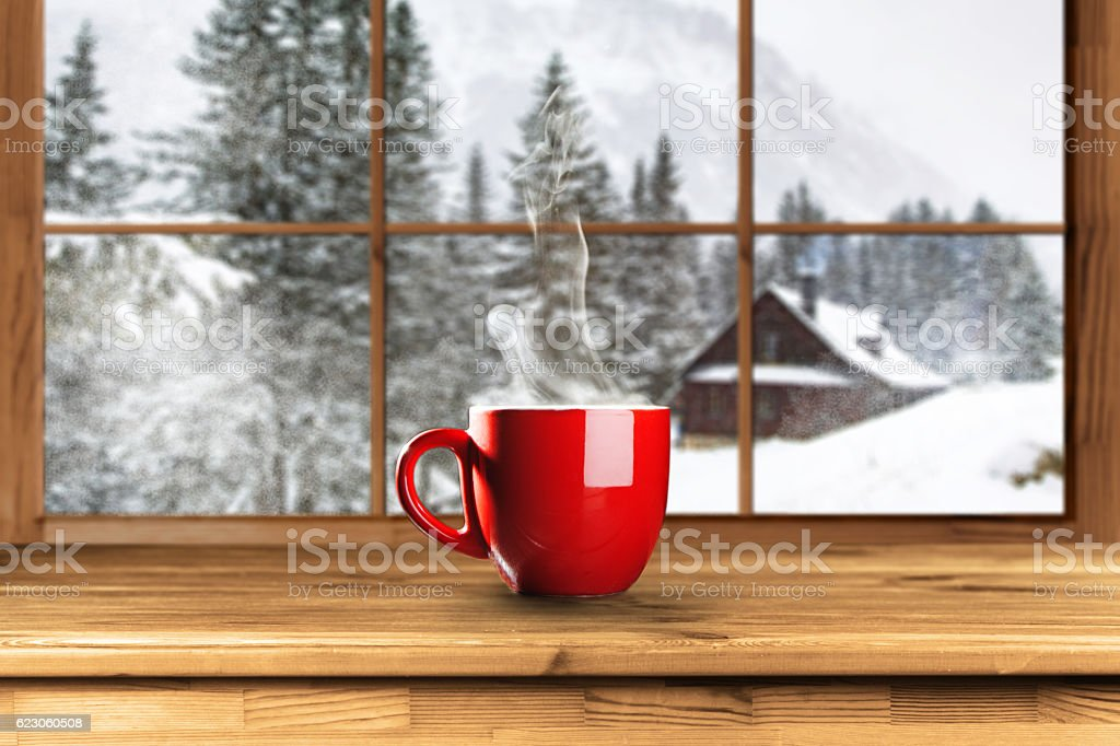 Hot coffee in winter stock photo